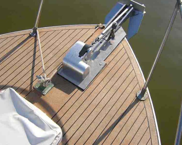 New cork foredeck looks safe and attractive