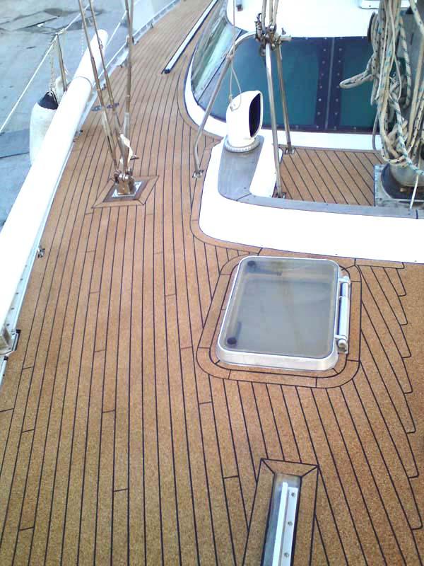 Large Sailboat With Cork Deck Replacing Teak