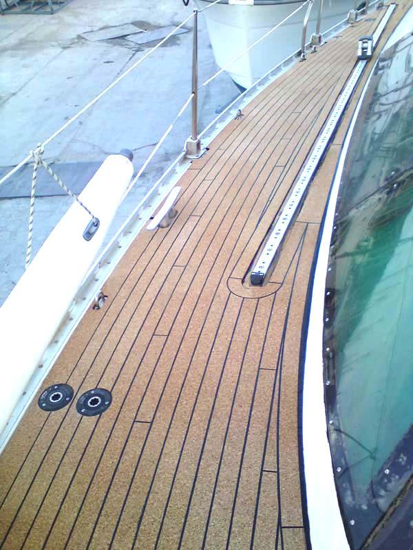 Large Sailboat With Cork Deck Replacing Teak Seacorkseacork